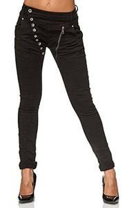Elara Damen Jeans Boyfriend Baggy Knopfleiste Chunkyrayan C613K-15/F15, 44, Schwarz