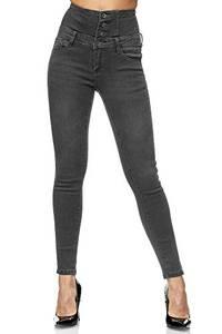Elara Damen Jeans High Waist Push Up Skinny Fit Chunkyrayan 1166-82 Grey-36 (S)
