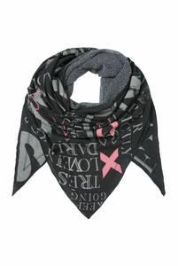 Soccx Triangle-Tuch im Materialmix mit Print schwarz