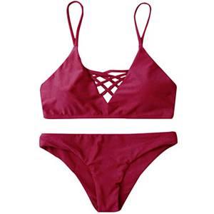 OVERDOSE Damen Push Up Bikini-Sets Tankini Slip Beaderock Neckholder Bandeau Badeanzug Bademode Swimwear Swimsuits (S, Rot)