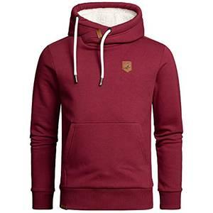 Amaci&Sons Herren Basic Kapuzenpullover Sweatjacke Pullover Plüsch Hoodie Sweatshirt 4054 Bordeaux L