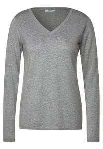 CECIL Damen Basic Pullover in Melange in Grau