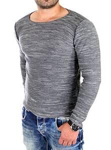Reslad Pullover Herren dünner Feinstrickpullover Männer Strick-Pulli Winter Strickpullover ohne Kapuze Rundhals-Auschnitt Slim Fit RS-3125 Anthrazit M