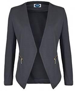 4tuality AO Blazer kragenlos mit Zipper grau Gr. XL