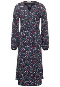 Midi-jurk met bloemen - deep blue