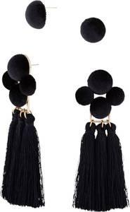 4tlg. Ohrringset mit Quasten in schwarz für Damen von bonprix