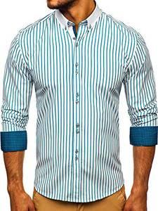 BOLF Herren Hemd Langarm Button-Down Kragen Slim Fit Streifen Muster Casual Style 9713 Grün M [2B2]