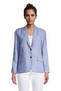 Leinenblazer, Damen, Größe: XS Normal, Blau, by Lands'' End, Classic Cobalt Gestreift