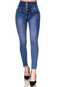 Elara Damen Jeans Stretch Skinny High Waist Chunkyrayan EL60D2 Blau-40 (L)