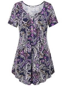 Youtalia Frauen Henley Shirt, leichter V-Ausschnitt, bedruckte Tunika, Bluse, Sommer-Top Violett M