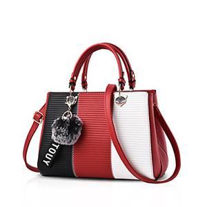 NICOLE & DORIS Damen Handtasche Umhängetasche Henkeltasche Kuriertasche Elegant Damen Handtaschen mit Kaninchen Pelz Kugel Plüsch Schlüsselring Weinrot 4