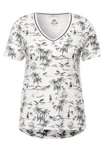 CECIL Damen T-Shirt mit exotischem Print in Weiß