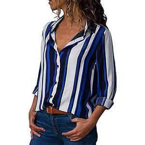 Damen Bluse V-Ausschnitt Elegant Langarm Shirt Casual Loose Shirt Tops Hemd S-XXL