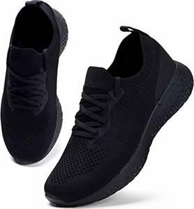 HKR Damen Turnschuhe Atmungsaktiv Laufschuhe Leichtgewichts Sportschuhe Freizeitschuhe Straßenlaufschuhe Sneaker Trainer für Running Fitness Gym Outdoor Schwarz 38 EU