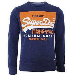 Superdry Herren Vintage Logo Crew Sweatshirt, Blau (Patriot Navy R4K), Medium