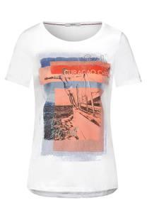 CECIL Damen T-Shirt mit Sail-Print in Weiß