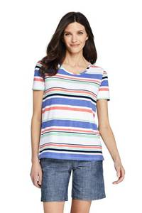 Funktionsshirt Gemustert, Damen, Größe: XS Normal, Blau, Modal, by Lands'' End, Hell French Blue Gestreift