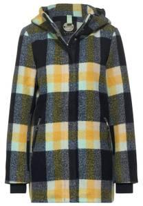 Street One Damen Mantel mit Karomuster in Blau,Gelb