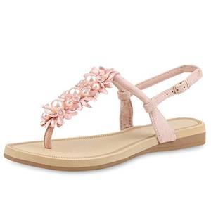 SCARPE VITA Damen Sandalen Zehentrenner Blumen Zierperlen Sommer Schuhe 161650 Rosa Zierperlen 37