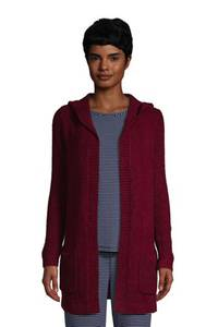 Long-Cardigan mit Kapuze, Damen, Größe: M Normal, Blau, Nylon, by Lands'' End, Tiefsee