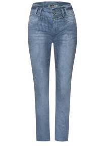 Slim fit denim met hoge taille - indigo blue yarn dye stripe
