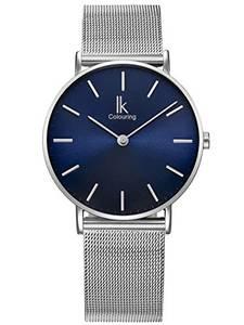 Alienwork Navy Blue Armbanduhr Herren Damen Silber Metall Mesh Armband Edelstahl blau Ultra-flach