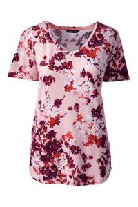 Gemustertes Baumwoll/Viskose-Shirt mit V-Ausschnitt, Damen, Größe: S Normal, Pink, by Lands'' End, Beigerosa Floral