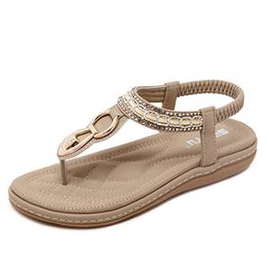 Sandalen Frauen Bequeme Flip-Flops Bohemia Sommer Bequeme Schuhe Flach Mädchen , Braun, EU: 38 (Herstellergröße: CN 39)