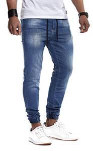 Leif Nelson Herren Jeans Hose Slim Fit Denim Blaue graue Lange Jeanshose für Männer Coole Jungen weiße Stretch Freizeithose Schwarze Cargo Chino Sommer Winter Basic LN9940BL Blau W32/L32