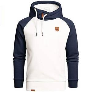 Amaci&Sons Herren Basic Kapuzenpullover Sweatjacke Pullover Hoodie Sweatshirt 4053 Weiß/Navyblau M