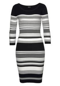 LAURA SCOTT Kleid graumeliert / schwarz / weiß
