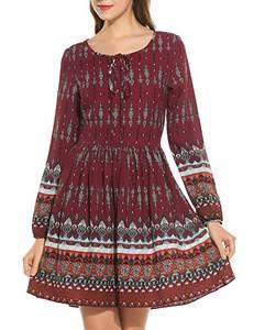 Meaneor Damen Kleid Chiffon Sommerkleid Strandkleid Retro Blumenmuster A-Linie Boho Stil mit Schleife Knielang EU 36(Herstellergröße: S), Weinrot