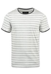 Indicode Reni Herren T-Shirt Kurzarm Shirt Mit Streifen Und Rundhalsausschnitt 100% Baumwolle, Größe:XL, Farbe:Grey (905)