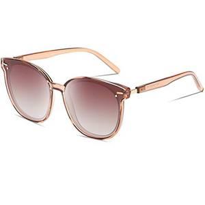 DUCO Vintage Runde Polarisierte Retro Sonnenbrille für Frauen UV-Schutz W017 (Braun)