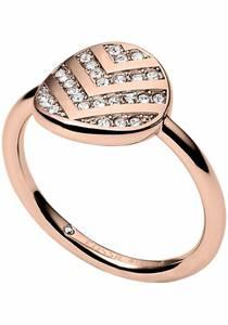 FOSSIL Fingerring VINTAGE GLITZ, JF02749791 rosegold / weiß