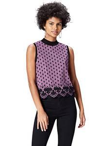 find. Bluse Damen ärmellos, mit kastenförmiger Silhouette, Mehrfarbig (Orchid/black), 36 (Herstellergröße: Small)