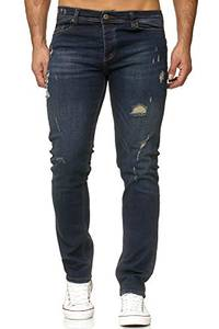 Reslad Jeans Herren Destroyed Look Slim Fit Denim Strech Jeans-Hose RS-2062 (W32 / L32, Dunkelblau (2090))