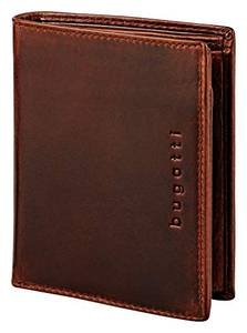 Bugatti Romano Geldbörse Herren Leder mit RFID Schutz – Portemonnaie Herren Hochformat Braun – Geldbeutel Portmonee Wallet Brieftasche Männer Portmonaise