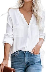 Ehpow Damen Bluse Langarm V-Ausschnitt Bluse Einfarbig Casual Button Down Oberteile Blusen Shirts(Medium,Weiß)