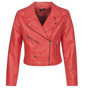 ONLY Damen ONLENYA Faux Leather Biker CC OTW Jacke, Rot (Chinese Red Chinese Red), (Herstellergröße: 38)