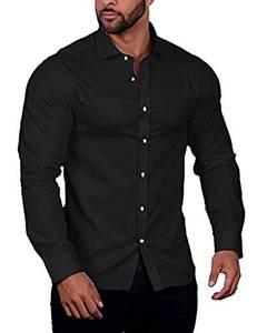 COOFANDY Herren Businesshemd Herren Hemd Regular Fit Einfarbig Freizeit Langarmhemd Bügelfrei Hemd für Männer