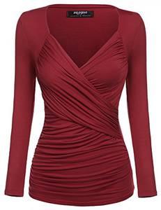 Zeagoo Damen V-Ausschnitt Langarmshirt Tunika Bluse Obertail T-Shirt mit Rüschen Weinrot- EU 40(Herstellergröße:L)
