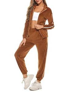 Aibrou Damen Trainingsanzug Jogginganzug Sportanzug Frauen Stehkragen Freizeitanzug 2 Teilige Outfit Tracksuit Zipper Top und Hose