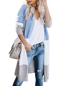 Avacoo Damen Strickjacke Lang Strickmantel Cardigan Damen Herbst Winter Casual Pulli Sweater Jacke Outwear Blau M