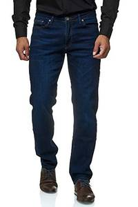 Jeel Herren-Jeans - Regular Fit Straight Cut - Stretch - Jeans-Hose Basic Washed 01-Navy 32W / 32L