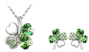 ANAZOZ Schmuck Set Vierblaettriges Kleeblatt Damen Halskette Ohrringe Herzförmige Kristall Zirkonia Grün für Frauen