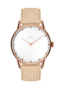 August Berg Uhr ''Serenity Simply Dot Sand Cream Perlon 32mm'' sand / rosegold
