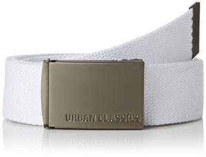 Urban Classics Unisex Canvas Belt Gürtel, White, one size