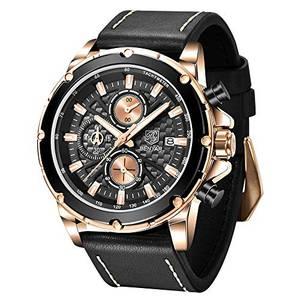 BENYAR – Armbanduhr für Herren, Echtlederarmband, Quarzuhrwerk, wasserdicht, analog, Chronograph, Business-Uhren Schwarz-g