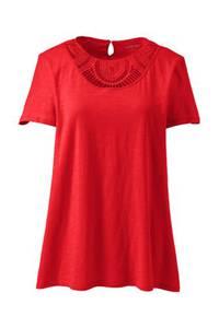 Shirt mit Spitzenausschnitt aus Baumwoll/Modalmix, Damen, Größe: XS Normal, Rot, by Lands'' End, Hell Mohn